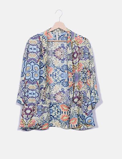Kimono estampado multicolor