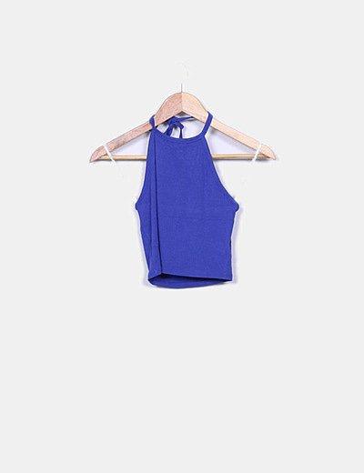 Top corto azul escote espalda