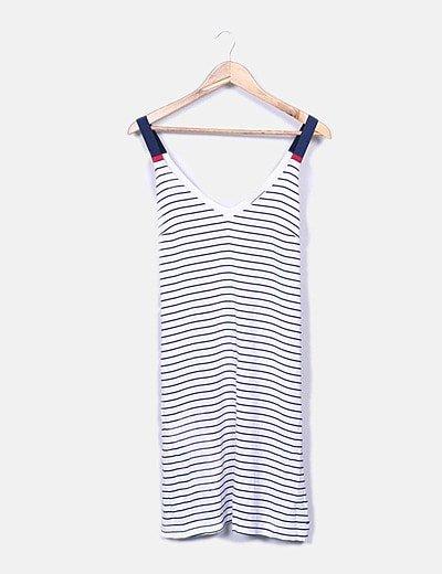 Vestido de tirantes rayas blancas y azules