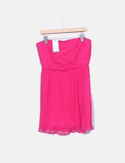 Vestido rosa fucsia plisado palabra de honor