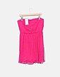 Vestido rosa fucsia plisado palabra de honor Suiteblanco