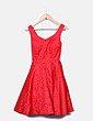 Vestido rojo texturizado con tul Suiteblanco