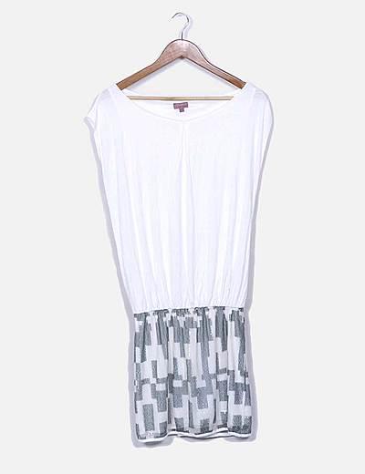 Vestido blanco combinado lentejuelas
