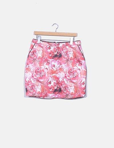 Falda floral con bolsillos