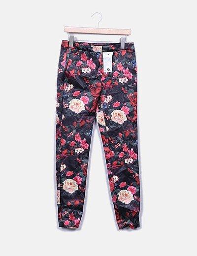 Pantalón negro floral satén