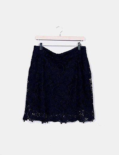 Minifalda azul crochet