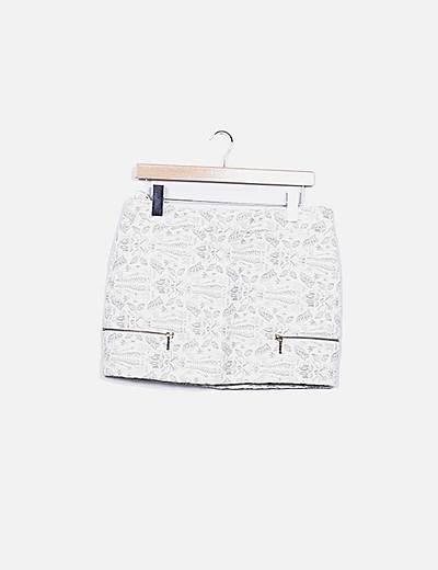 Mini falda beige texturizada