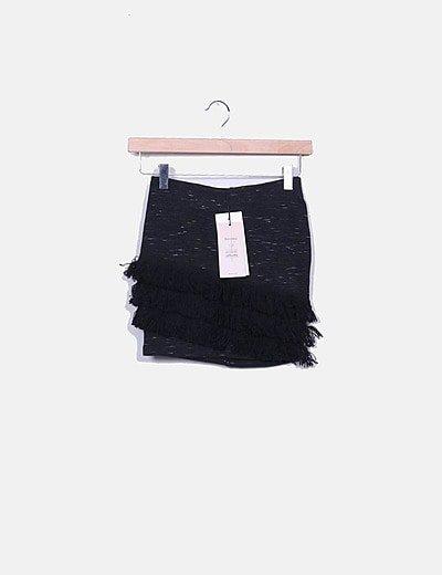 Mini falda tricot negra con flecos