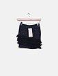 Mini falda tricot negra con flecos Bershka