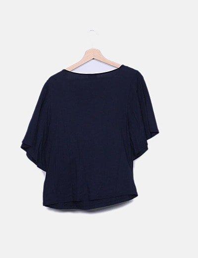 Zara Camiseta azul marina cuello de abalorios (descuento 84