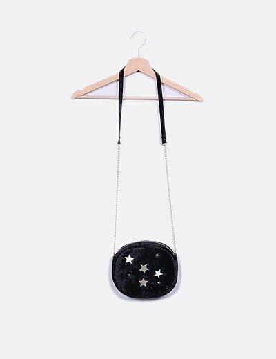 Bolso terciopelo negro estrellas strass