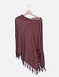Poncho tricot marrón con flecos Shana
