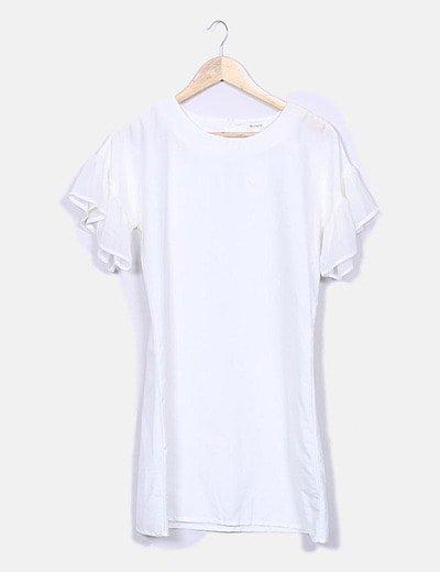 Vestido fluido blanco mangas de volante