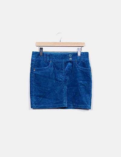 Minifalda azul de pana