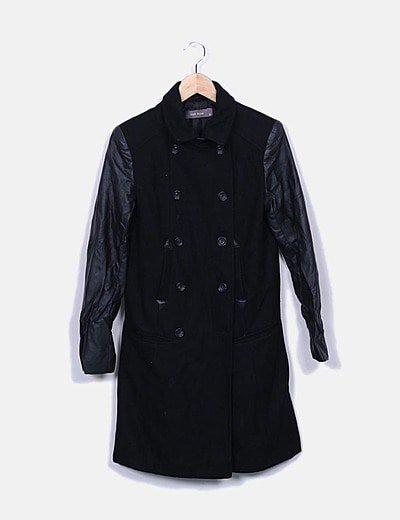 Abrigo paño mangas polipiel negro