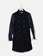 Abrigo paño mangas polipiel negro Easy Wear