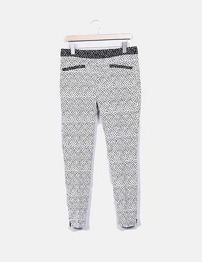 Zara Pantalon De Traje Moteado Blanco Y Negro Descuento 72 Micolet