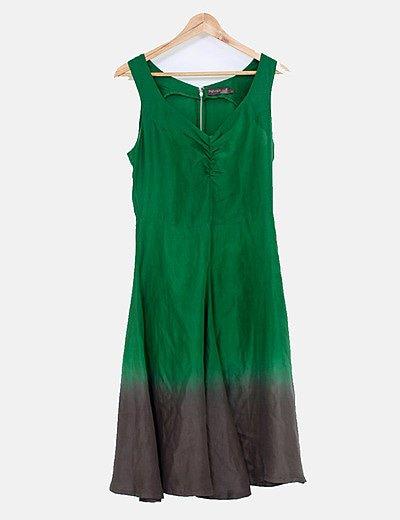 Vestido verde seda
