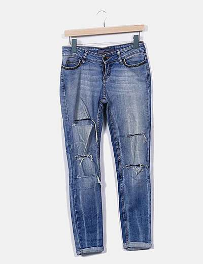 Jeans denim ripped pitillo