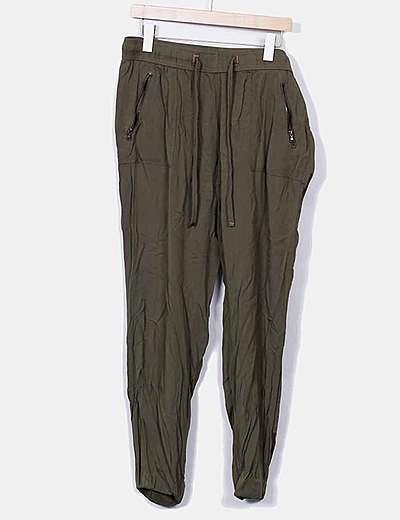 Pantalón verde kaki fluido