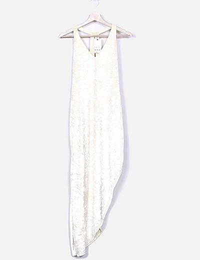 Vestido midi crema de terciopelo