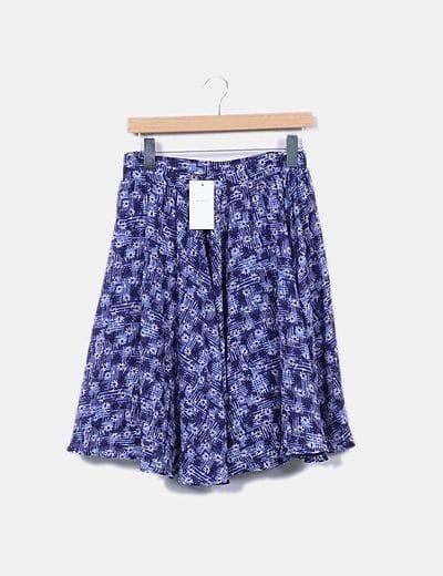 Falda midi azul floral