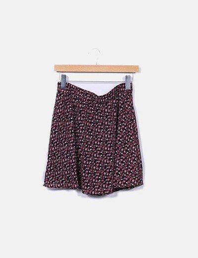 Minifalda negra estampada