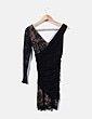 Vestido cocktail negro drapeado Zara