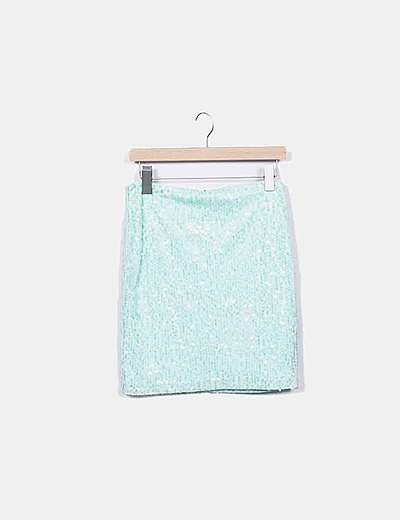 Minifalda verde paillettes