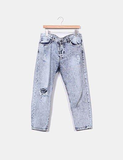 Pantalón denim claro roturas