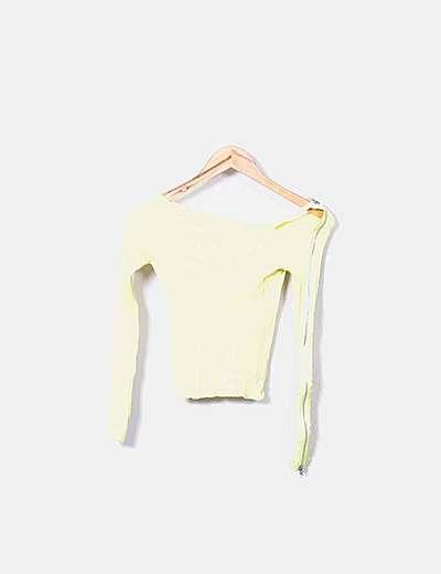 Jersey amarillo canalé con cremallera
