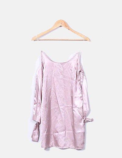 Vestido satén rosa mangas lazo