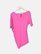 Camiseta asimétrica rosa Bershka