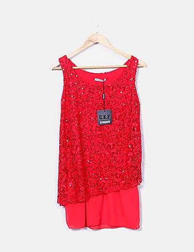 Vestido rojo combinado paillettes