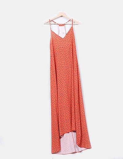 Maxi vestido naranja estampado