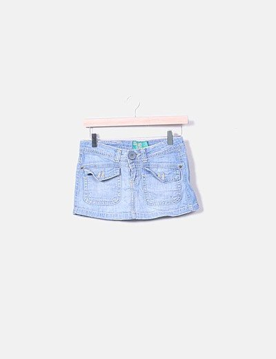 Minifalda denim con bolsillos