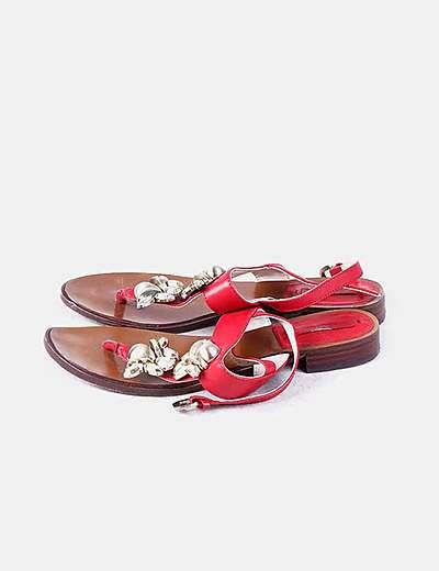 Sandalias rojas abalorios dorados