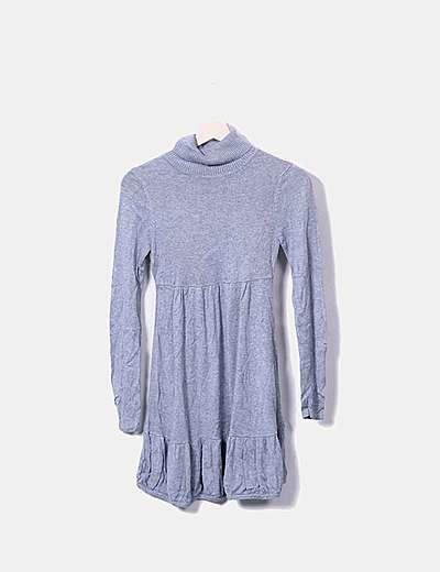 Vestido globo tricot gris