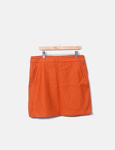Falda midi lana naranja