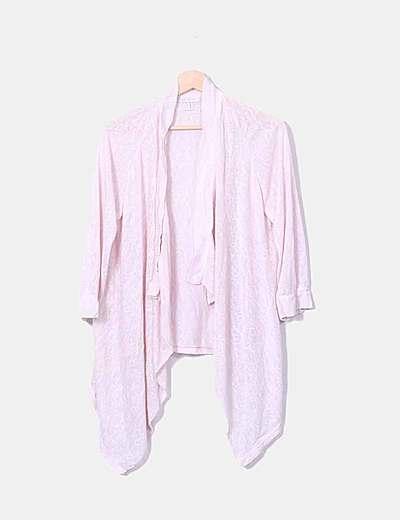 Cárdigan tricot rosa asimétrico