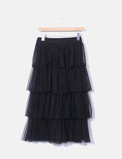 Falda pantalón midi tul negro volantes