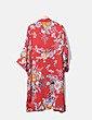 Kimono largo satén rojo floral Bershka