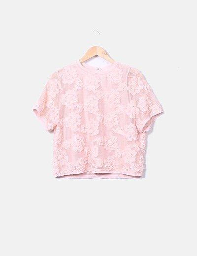 Top rejilla rosa texturizado