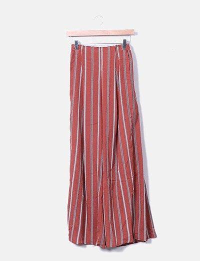 Conjunto pantalón y crop top volante caldera con rayas