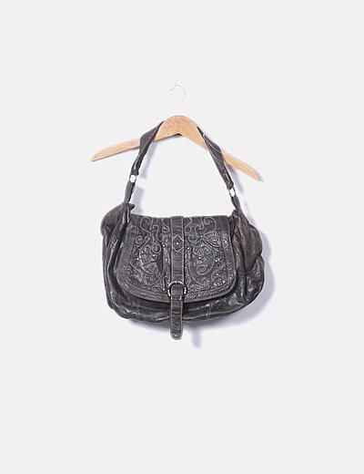 Maxi bolso texturizado marrón