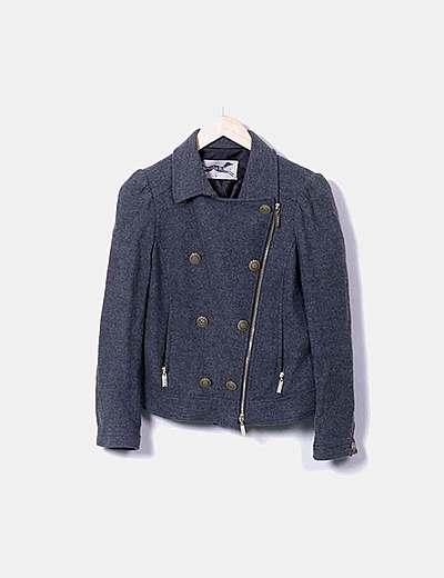Cazadora biker lana gris
