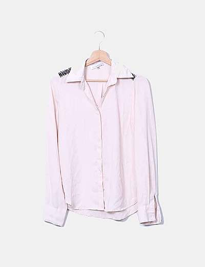 Blusa gasa rosa palo con strass