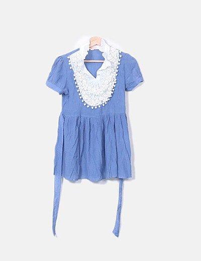 Blusón azul crochet
