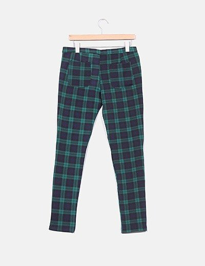 Noname Pantalon De Cuadros Verde Y Azul Marino Descuento 38 Micolet