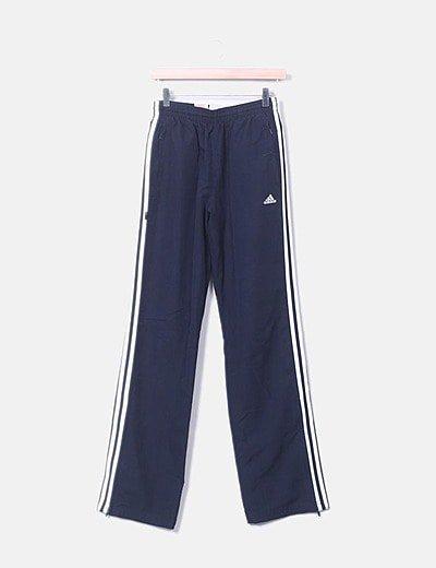 Pantalón azul marino con raya blanca